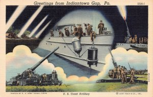 U.S. Coast Artillery, Greetings from Indiantown Gap, PA., WWII Era Postcard