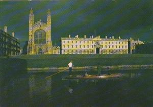 England Cambridge Kings College From The Backs At Night