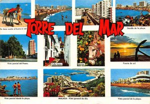 Spain Torre del Mar Vista Parcial Malaga Arena Beach Anchor Postcard