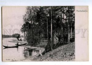 178100 FINLAND FISHING Punkaharju early Vintage postcard