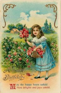 Victorian Lil Girl In Lace & Blue~Gathers Red Roses~Basket~Gold Leaf GEL~Saxony