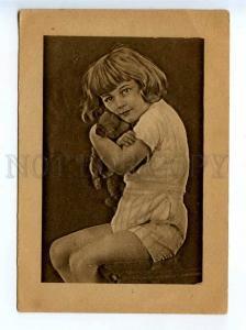 236832 USSR RUSSIA girl w/ TEDDY BEAR Vintage Daglit postcard