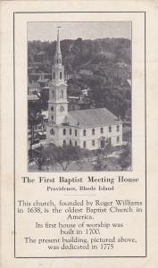 PROVIDENCE , Rhode Island , 00-10s ; The First Baptist Meeting house