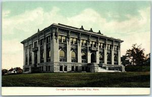 Kansas City, Kansas Postcard Carnegie Library Building Front View 1910s Unused