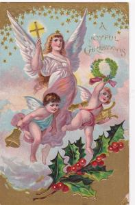 CHRISTMAS, PU-1908; Joyful, Angel and Cherubs floating, Gold Cross & Bell, Holly