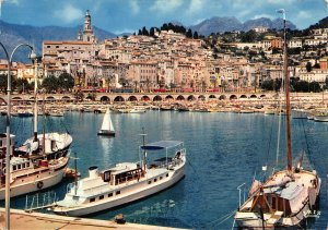 France Menton The Harbour and the Old Town Boats 1970 Postcard