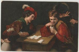 MICHELANGELO ART THE CHEAT CARD GAME STENGEL c1910 Postcard