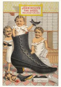 John Kelly Fine Shoes, Rochester, New York - Trade Card (Dover Reprint)