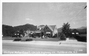 1950s Phillips Moor Court Hwy 129 Robbinsville North Carolina Postcard 11144