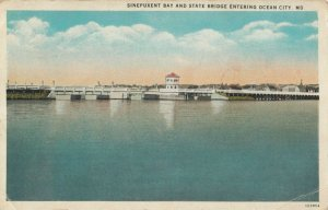 OCEAN CITY , Maryland, 1935 ; Sinepuxent Bay & State Bridge