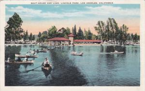 Boat House and Lake, Lincoln Park, LOS ANGELES, California, 10-20s
