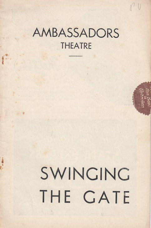 Swinging The Gate Peter Ustinov Vintage Musical Theatre Programme