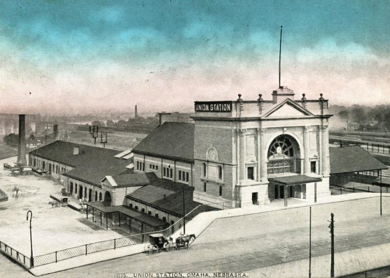 OMAHA NE, Union Train Station, 1910 Color Vintage Postcard Z2562