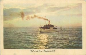 Greetings from Balaton lake Hungary navigation ship