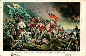 Vtg Tarjeta Postal 1905 Udb Battle Of Bunker Hill Muerte De José Warren Pintar