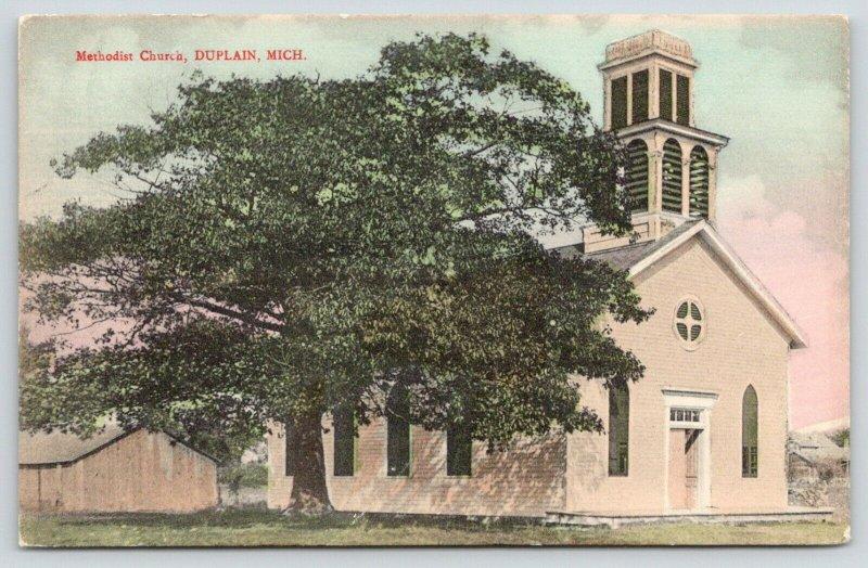 Duplain Michigan~Methodist Church~Barn Behind~c1910 Handcolored Postcard