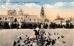 SAN DIEGO CA~FEEDING PIGEONS-PANAMA CALIFORNIA EXPOSITION OF 1915 POSTCARD