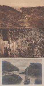 Vallency Valley Bocastle Antique Mint & Leaving Harbour Boat Sailing 3x Postcard
