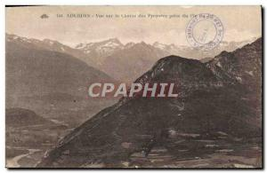 Old Postcard Lourdes view on the Chaine des Pyrenees Taking Pic du Jer
