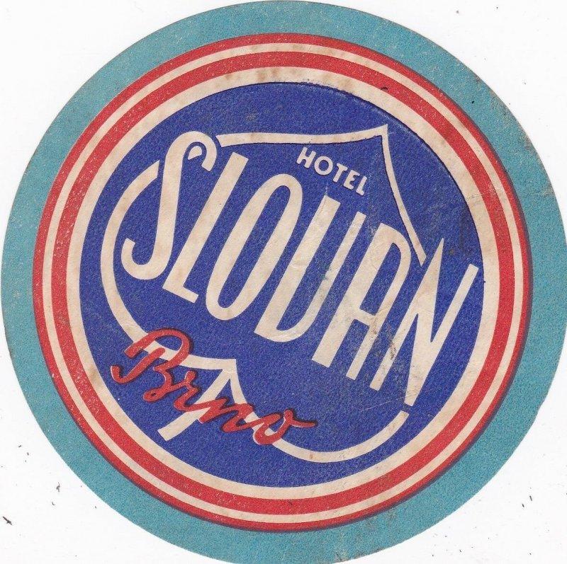 Czechoslovakia Brno Hotel Slovan Vintage Luggage Label sk4455