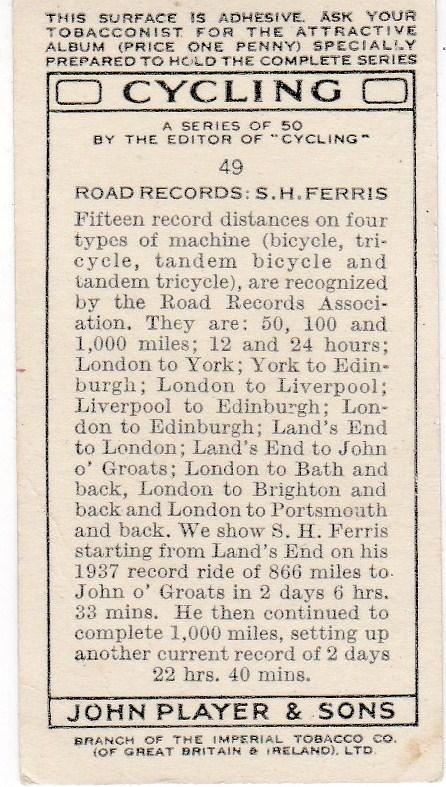 Cigarette Cards Players CYCLING No 49 Road Records : S. H. Ferris