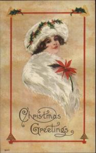 Christmas - Beautiful Woman White Fur Hat & Muff #9055 c1910 Postcard #2