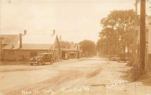 Princeton ME Main Street Store Fronts Old Cars Signed Richards RPPC Postcard