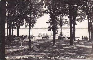 Wisconsin Delavan Lake Swimming Pier Lake Lawn 1945 Real Photo RPPC