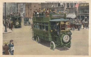 NEW YORK CITY, 1917 ; Double Decker Bus on Fifth Avenue