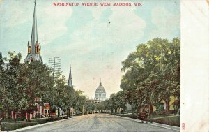 MADISON WISCONSIN~WASHINGTON AVENUE-CAPITOL-CHURCH SPIRES 1900s POSTCARD