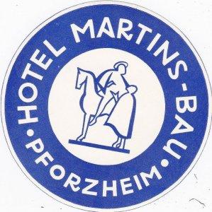 Germany Pforzheim Hotel Martins Bau Vintage Luggage Label sk3813
