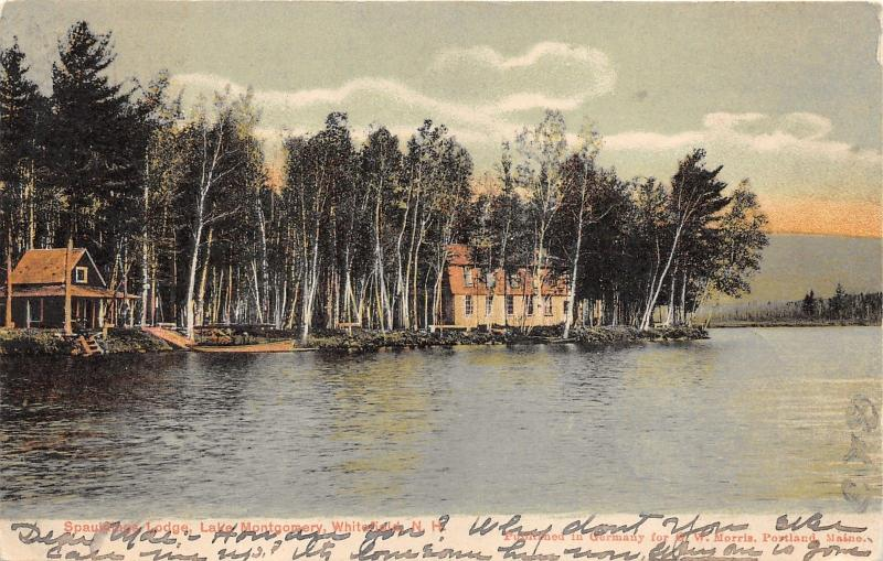 Whitefield New Hampshire~Spauldings Lodge on Lake Montgomery~1906 Postcard