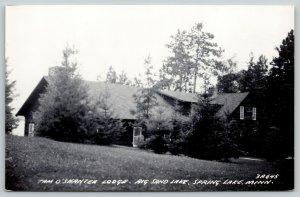 Spring Lake MN Big Sand Lake~Hillside Sam O'Shanter Lodge Tries Hiding~RPPC 1950