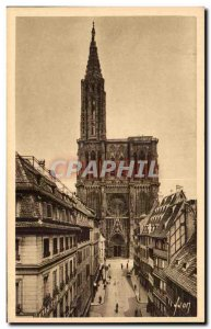 Postcard Old Strasbourg Cathedral Street to the Merciere