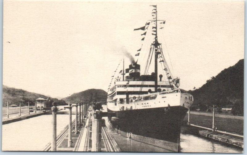 Panama Pacific Lines Postcard Steamer VIRGINIA Passing Through Canal Locks