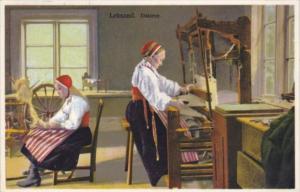 Sweden Leksand Dalarne Women Weaving
