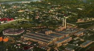 Postcard Illinois Central Train Railroad Shops Paducah Kentucky Linen