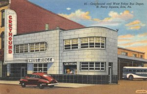 LPS38 Erie Pennsylvania Greyhound and West Ridge Bus Depot Postcard