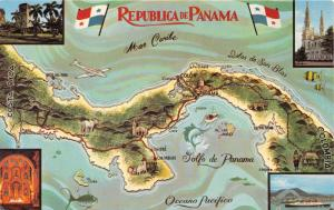 REPUBLICA DE PANAMA WITH TOPOGRAHIC MAP & FLAGS~MIKE ROBERTS PUBL POSTCARD