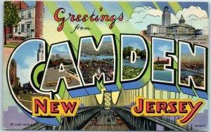 CAMDEN New Jersey Large Letter Postcard Curteich Linen 3B-H645 / 1944 Cancel
