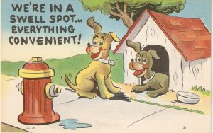 We're in a swell spot..wcverything convenient! Humorous American linen postcar