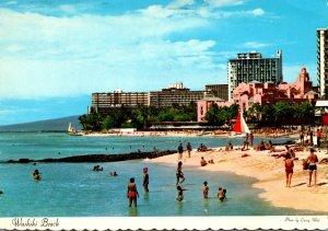 Hawaii Waikiki Beach Sun Bathers 1972