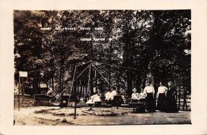 Cedar Rapids Iowa~Bever Park Merry Go Round~Victorian Ladies~Children~1913 RPPC