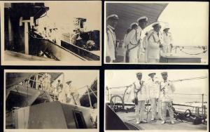 siam thailand, King Rama VI Vajiravudh on Board HMS Hawkins (1925) 4x Real Photo