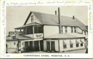 Vtg RPPC Carpenter's Store Service Station Webster NH Coca Cola Spur Soda Gas