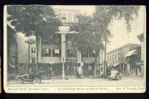 Norwalk, Connecticut/CT/Conn Postcard, Norwalk Hotel. Stage House, Old Cars