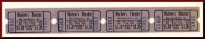 Four $1.20 Marlow's Movie Theatre Tickets, Murphysboro, Illinois/IL, 1950's?