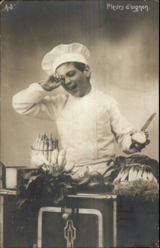 Little Boy Chef Cries From Onions Food Knife Cooking Real Photo Postcard c1910