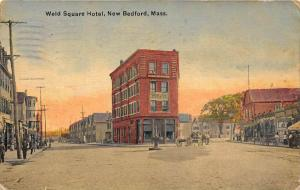 25694 MA, New Bedford, 1913, Weld Square Hotel, horse drawn carrige out front