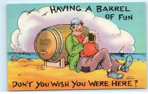 Vintage Postcard Munson Comic Blotz's Brew Having a Barrel of Fun Beer Drunk A45